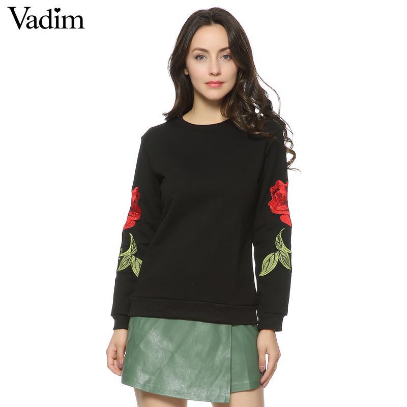 Женщины вышивка цветочные черный белый кофты с длинным рукавом элегантный теплая зима пуловер старинные О-образным вырезом повседневная топы SW901 S18101006