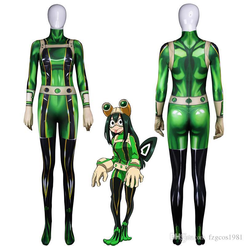 Anime 3D Women My Hero Academia Boku no Hero Academia Asui Tsuyu Cosplay Costume Zentai Bodysuit Suit Jumpsuits