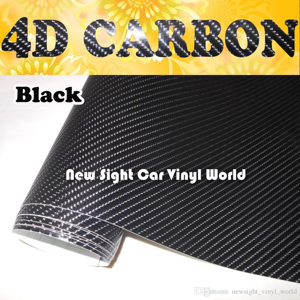 Negro 4d De Fibra De Carbono Vinilo Wrap película de Aire Libre