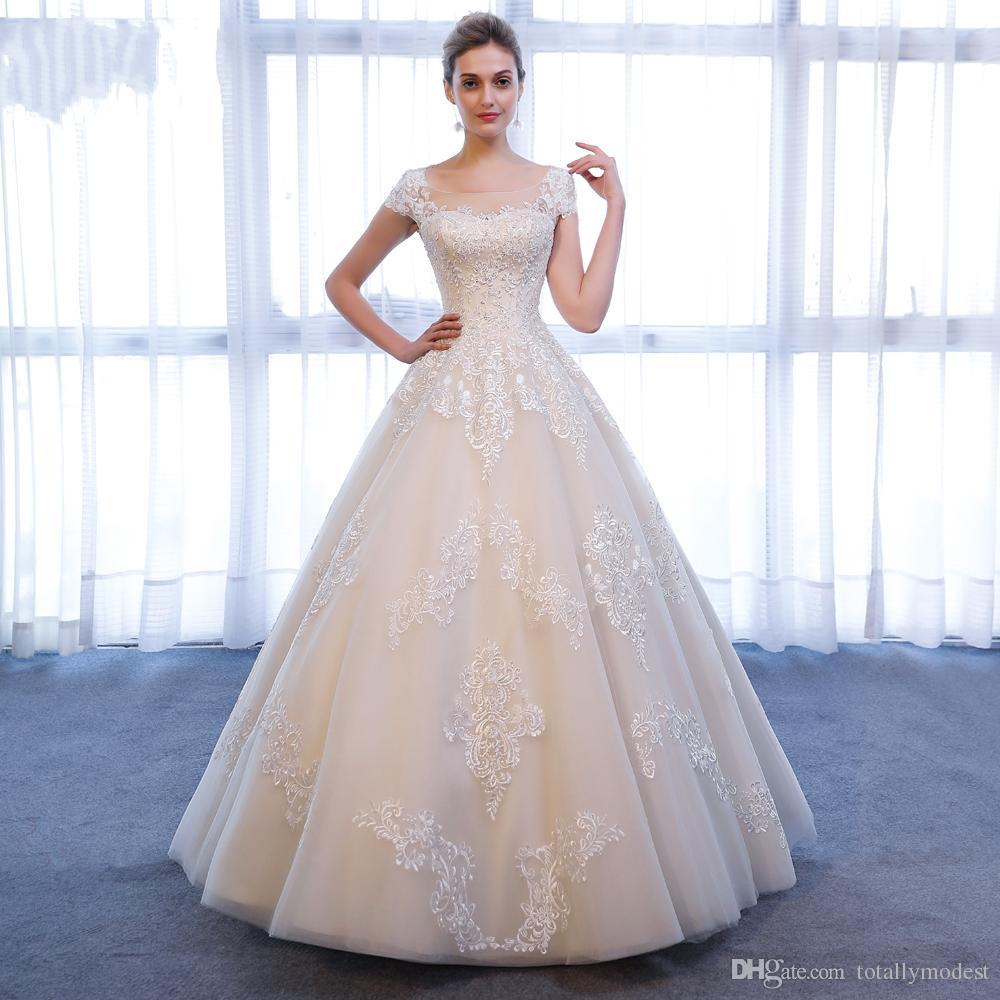 Robe de bal Dentelle Tulle Champagne Robe de mariée Jewel cou Corset Retour longueur de plancher de femmes Pays Formal Robes de mariée Custom Made