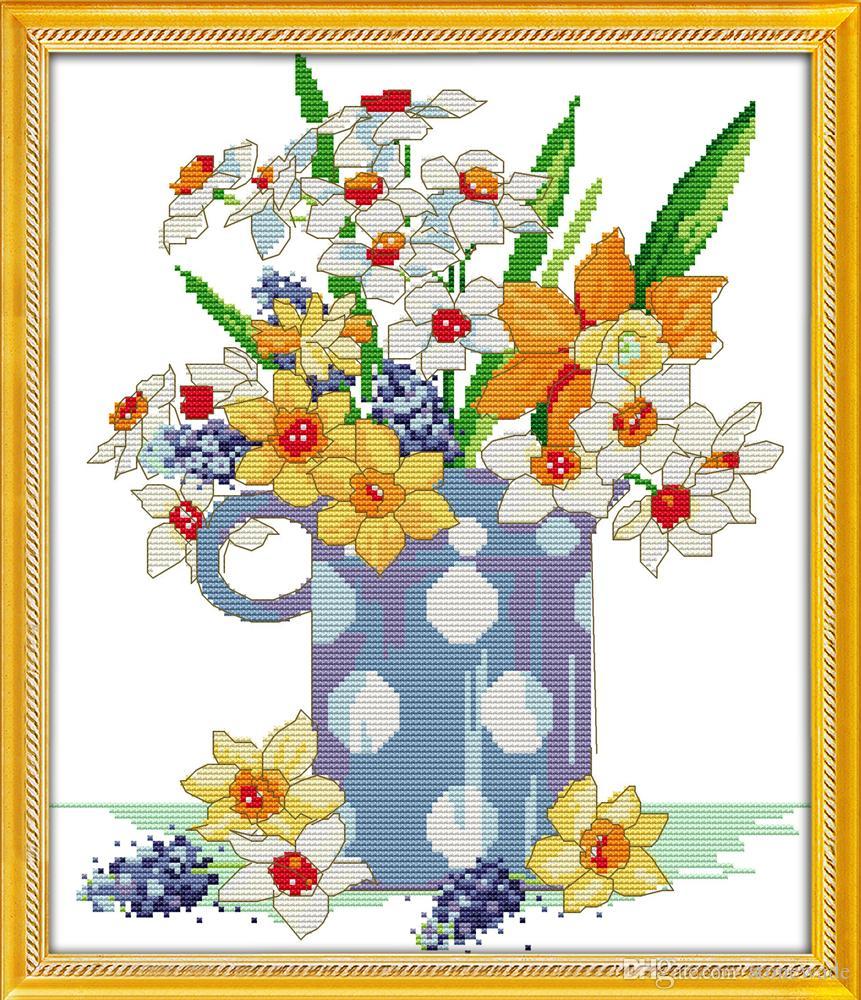 Des peintures à la maison de fleurs brillantes, ensembles faits à la main de broderie de point de croix à la main ont compté l'impression sur la toile DMC 14CT / 11CT