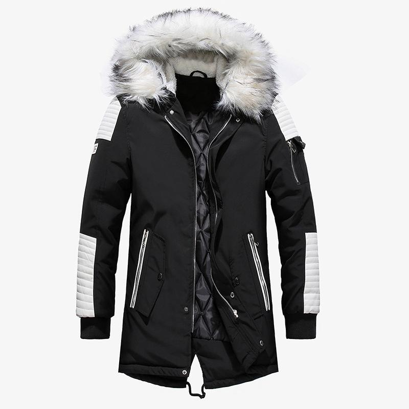 2018 Winter Jacket Men Fur Collar Hooded Oversized Black Long Parka Coats Pu Thicken Windproof Warm Jackets Outerwear