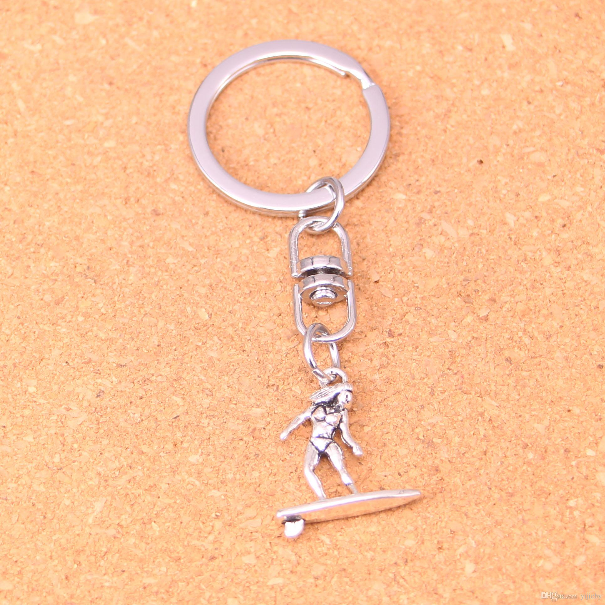 Vintage lady girl Key Rings Fashion Car Keychain Silver Color Metal Key Chains Accessory