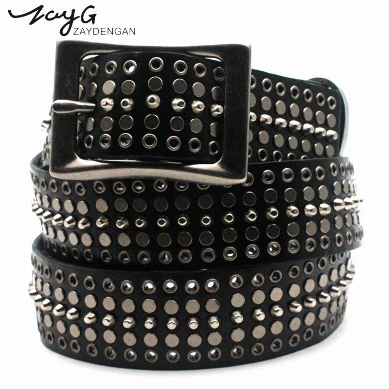 ZAYG cuero punky del hombre y de la mujer Cinturones remaches de metal negro blanco cinturones de cuero genuino de moda hebilla correas