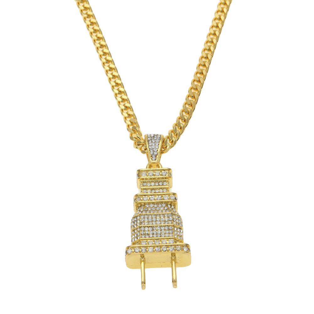 Fashion 2018 Chain Length 70cm + New Plug Pendant Dense Mosaic Rhinestone Pendant Necklace Bling Bling Hip Hop Chains for Men