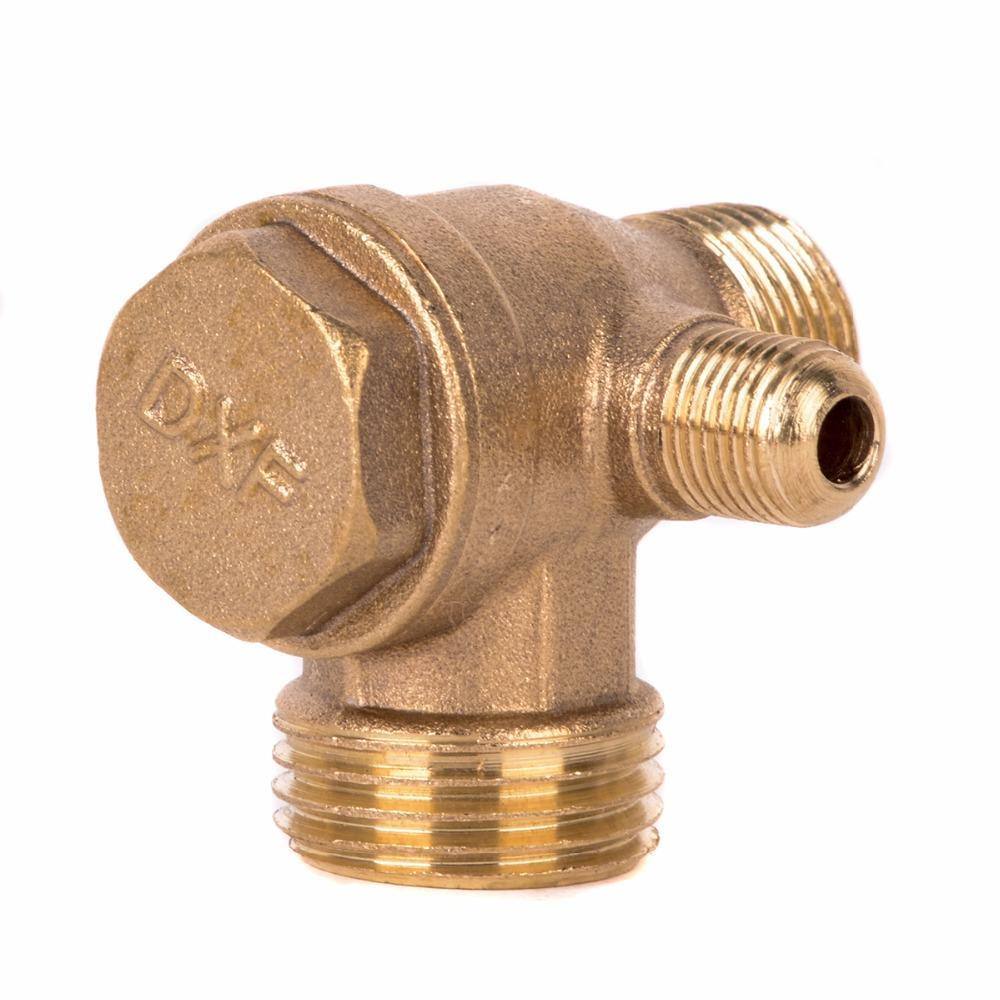 1pc Golden Male Thread Check Valve Cast Iron 3 Port Check Valve Connector Tool For Air Compressor