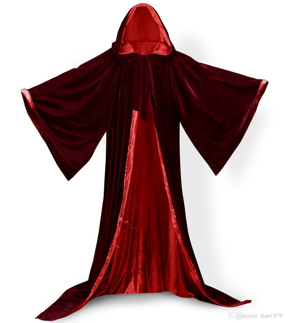 Gothic с капюшоном бархатный плащ готика Wicca халат средневековый колдовство Larp Cape