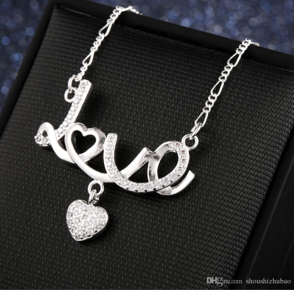 Romántico prometedor amor carta carta colgante collar de plata mujeres sin cuello joyería para siempre amor aniversario regalo chn013