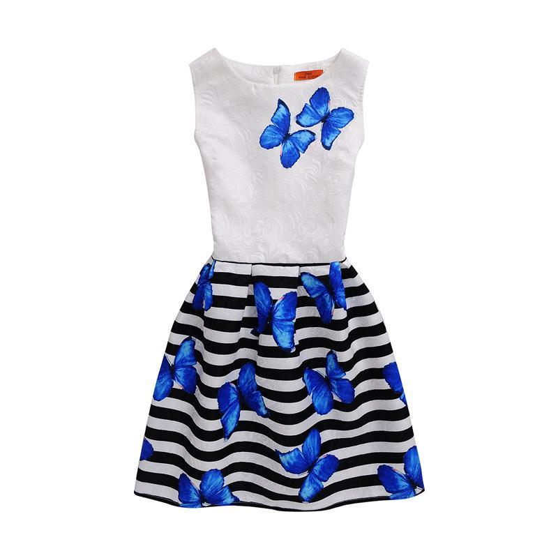 Çocuk etek kelebek baskı kolsuz Çocuk Giysiler brithday elbise parti ince A-line skirtBoat Boyun etek Polyester Çocuk Elbise