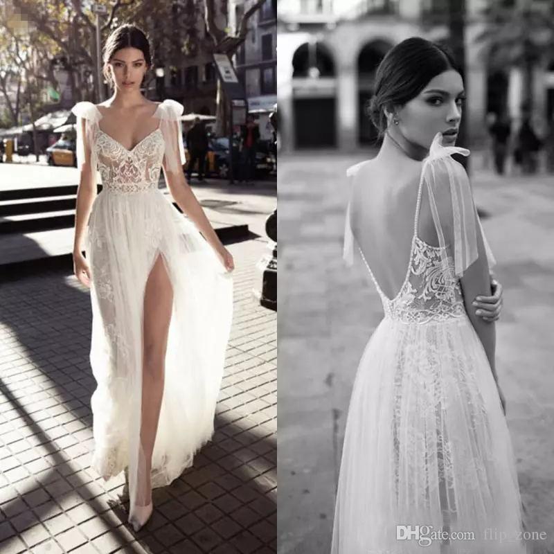 Discount Gali Katen Wedding Dresses Bridal Gowns Shoulder Bows Plus Size Bohemian Wedding Gowns V Neck Backless Lace Side Split Spaghetti Straps Beach