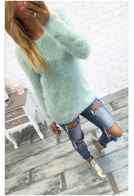 Großhandel Rogi Herbst Plüsch Pullover Tops Frauen 2018 Langarm Harajuku Shirts Weibliche Solide Oansatz Jumper Femme Damen Pullover Blusas Von