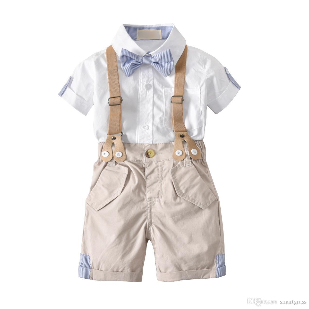 Été Ensemble 2 pièces bébé garçon Tenues petit homme Mode Vêtements de bébé en ligne Chemises blanches et demi Pantalons Longueur Vêtements Ensembles 18042603