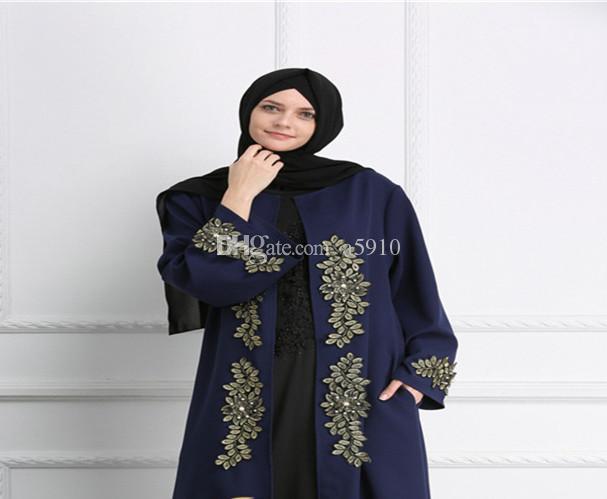 2018 novo muçulmano Dubai cor sólida bordados vestes de pérola vestido de vestes senhoras vestido de festa