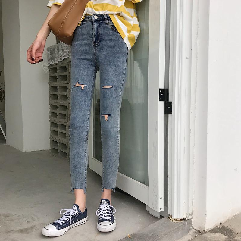 bbf0d4a6fa 2018 Pengpious 2018 High Waist Female Slim Hem Vintage Denim Pencil Pants  With Holes Women Skinny Jeans Irregular Pants Good Quality From Qingchung,  ...