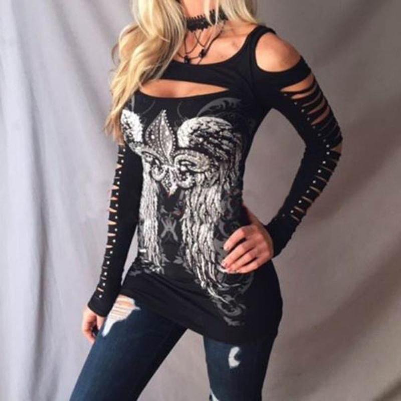 Sexy Schulterfrei Frauen Tops Casual Schlank Aushöhlen Langarm Frühling Herbst Gedruckt T-Shirts Weibliche Kleidung S M L XXL 8L0984