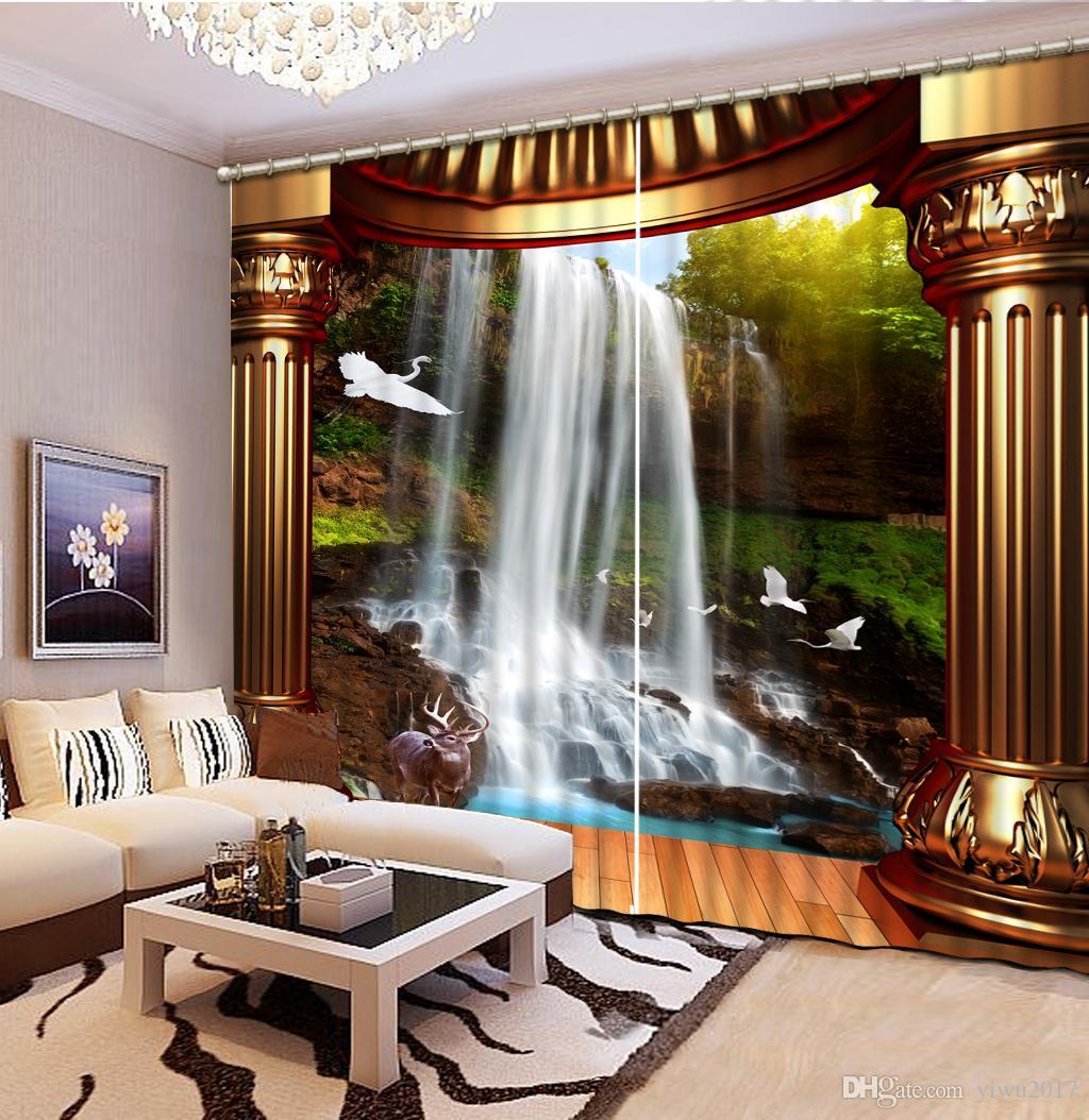 Rideaux Fenêtre 3D Cascade Colonne Romaine Paysage Rideau Pour Salon Chambre De Luxe De Style Européen