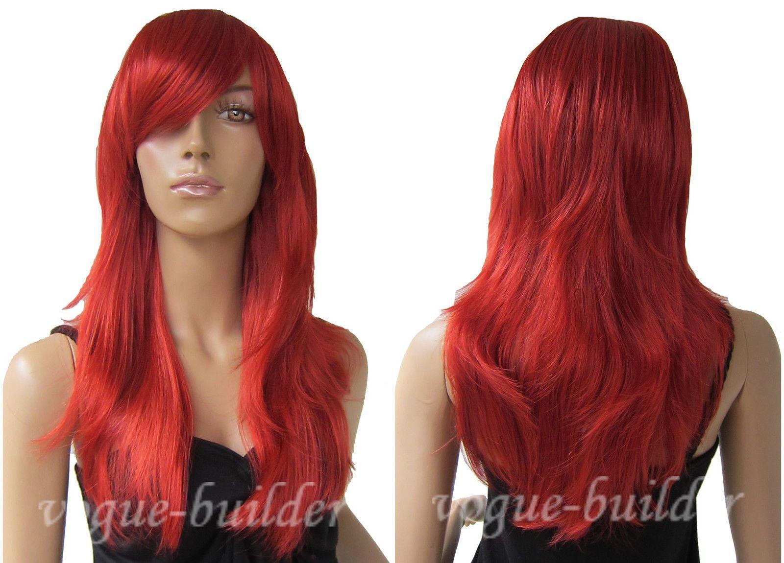 FIXSF777 lujo nuevo popular largo cosplay rojo salud peluca de pelo pelucas para mujeres
