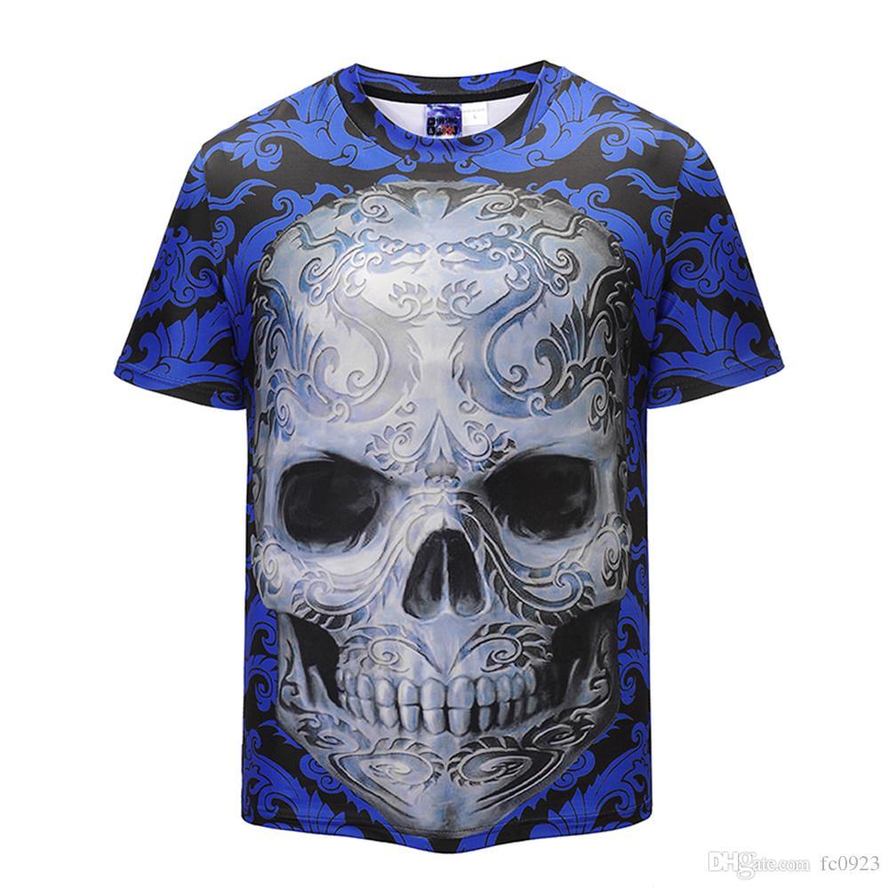 2018 여름 새로운 창조적 3D 두개골 인쇄 O 코드 t 셔츠 남자의 거리 유럽과 미국 조수 브랜드 블라우스