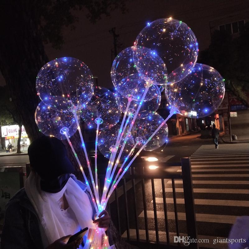 Barre de ballons créatifs de fête, de cordes de pouce d'hélium transparent avec un anniversaire décoratif Bobo 14 ballon de feuille de lumière pour Qoxir