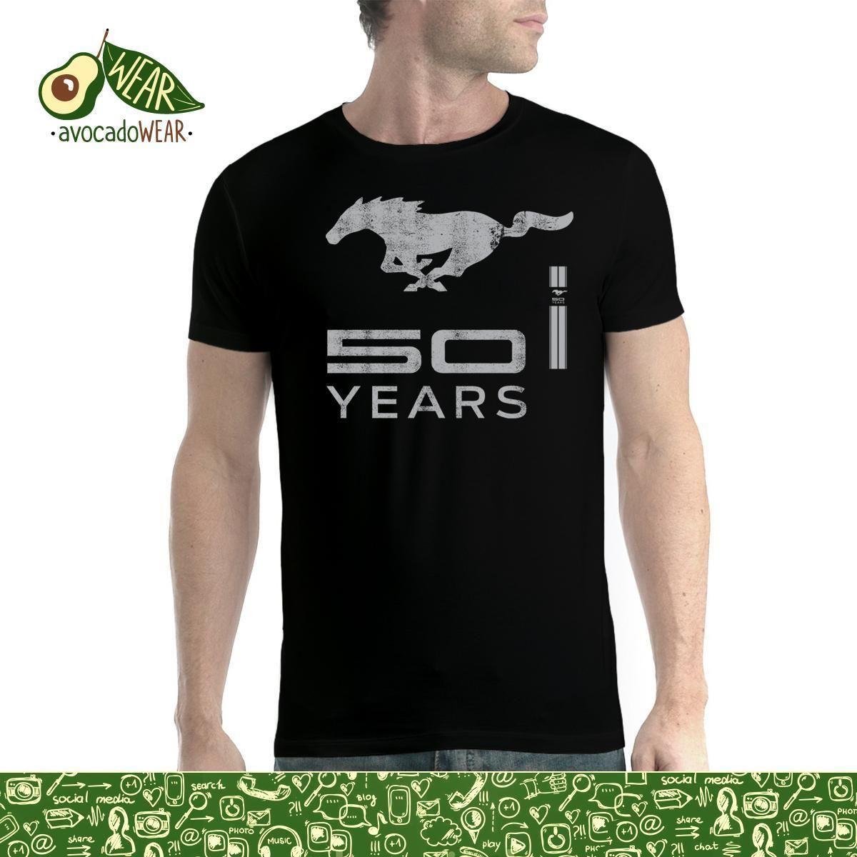 Ford Mustang 50 ANS LOGO ARGENTé T-Shirt Hommes XS-5XL