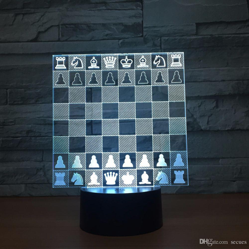 Chess 3D Optical Illusion Lamp Night Light DC 5V USB Powered 5th Battery Wholesale Dropshipping Free Shipping