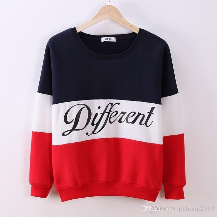 2018 봄과 가을 새로운 여성 모델의 한국어 버전 컬러 매칭 문자 둥근 목 긴 소매 스웨터 스웨터 양털