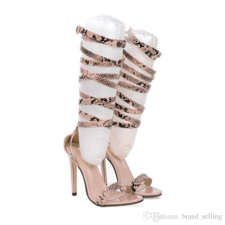 Woman's Knee high stiletto Pumps Lady Sexy High heel cross straps serpentine snake hollow sexy Boots Prom Brand Shoes female Summer sandals