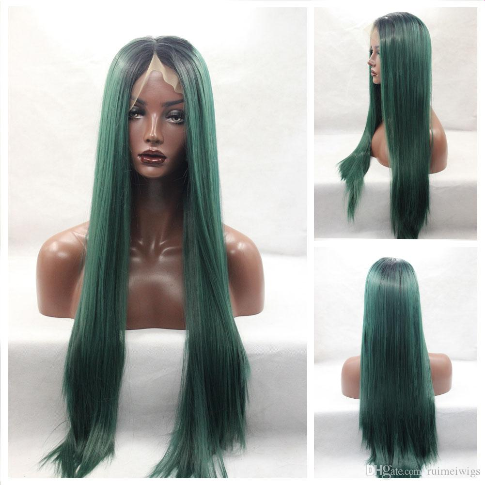 Ombre Black to Turquois/Blue/Green Synthetic Lace Front Wig Cosplay Ombre Dark Green wig Silky Straight Heat Resistant Synthetic Wigs