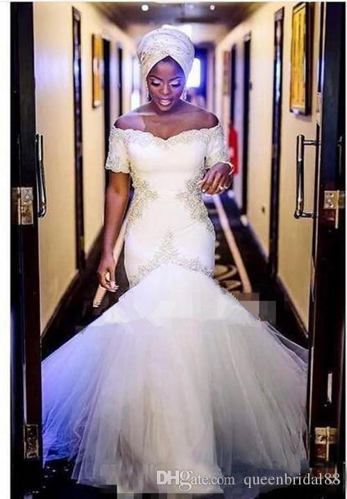 2018 Robes De Mariée Sirène Africaine à Manches Courtes Applique Tulle Longue Robe De Mariée Élégante Vente Chaude