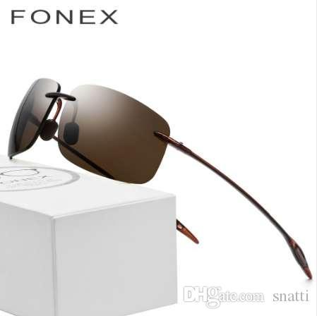 Ultem TR90 gafas de sol sin montura hombres Ultralight 2018 gafas de sol sin marco cuadradas de alta calidad para mujer lente de nylon diseñador de la marca