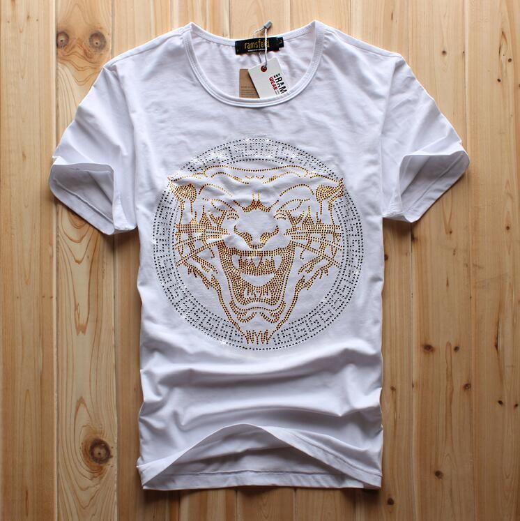 2021 Мода мужская короткая футболка для продажи TIGER Luxury Diamond Draump Design повседневная хлопчатобумажная с коротким рукавом футболки бренда хип-хоп хлопчатобумажная уплотнительная шейка мужская белая мода
