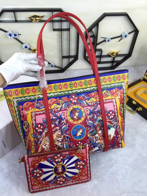 Semana de moda de Milão de alta qualidade Rose Leather shopping bag bolsa de ombro ocasional grande impressão grandes sacos de compras