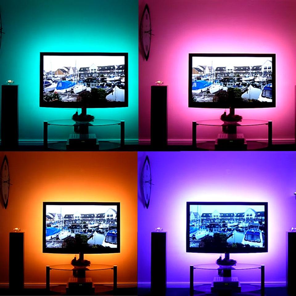 1m-5M DC 5V RGB Flexible USB led strip light 5050 SMD sting IP20 شريط لاصق الشريط الخلفية الإضاءة