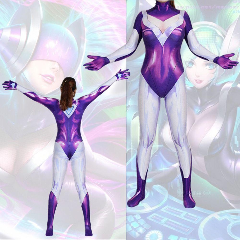 Asya Boyutu Kadınlar DJ Sona League of Legends Cosplay Cadılar Bayramı Kostüm Lycar Spandex Parti Seksi Zentai Tulum Bodysuit