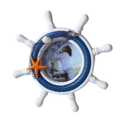 Estilo Náutico Mediterráneo Nórdico Handcrafted Timón de madera Shell Sea Star Photo Frame Volante Decoración Del Hogar
