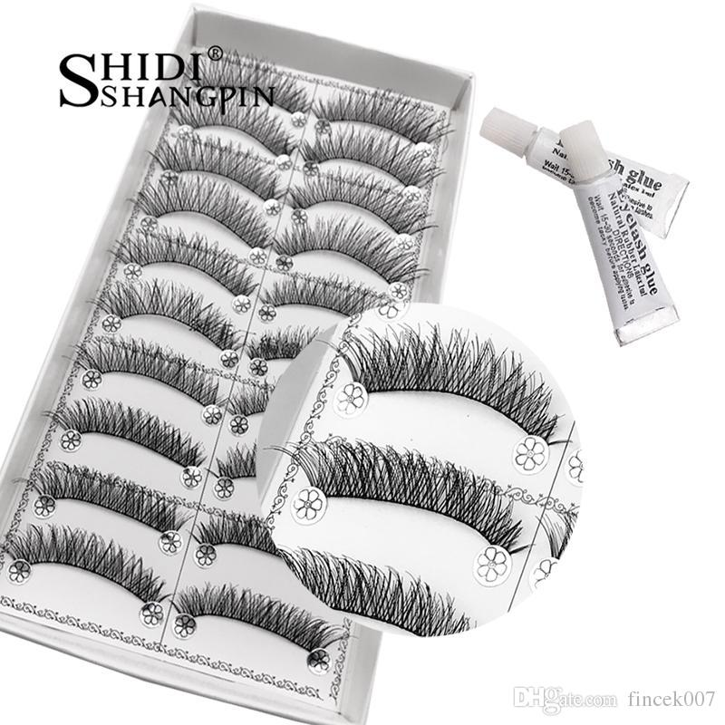 10 Pairs Natural Long False Eyelashes with Lash Gule Makeup Set Handmade Lashes Extensions Cross Soft Winged Cilios Maquiagem