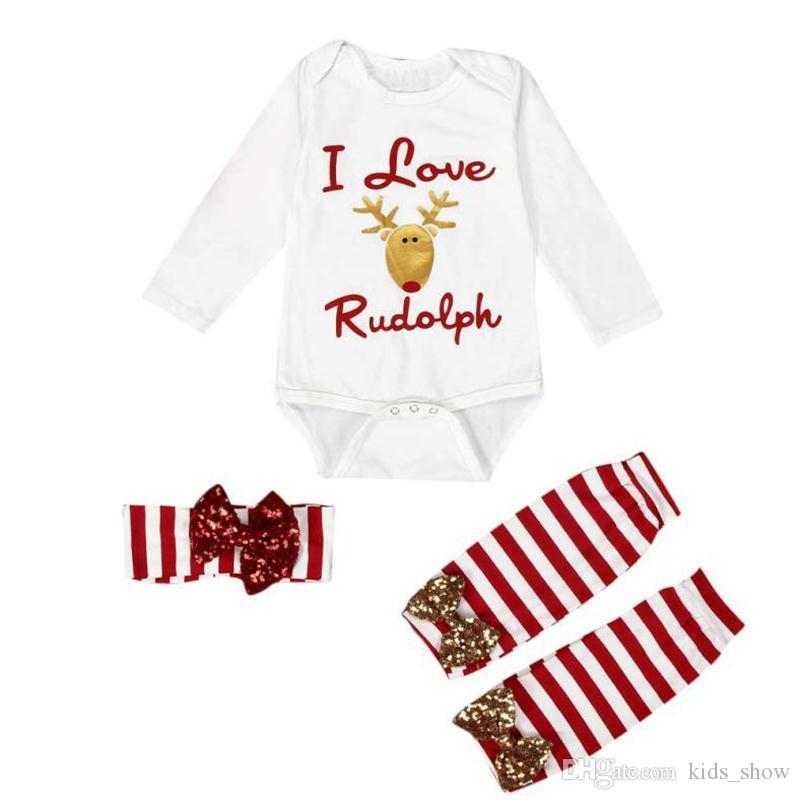 Милые детские девушки рождественская одежда установить костюм набор лук повязка на повязку + длинный рукав Rompers + красная полоса теплый 3шт 3 шт.