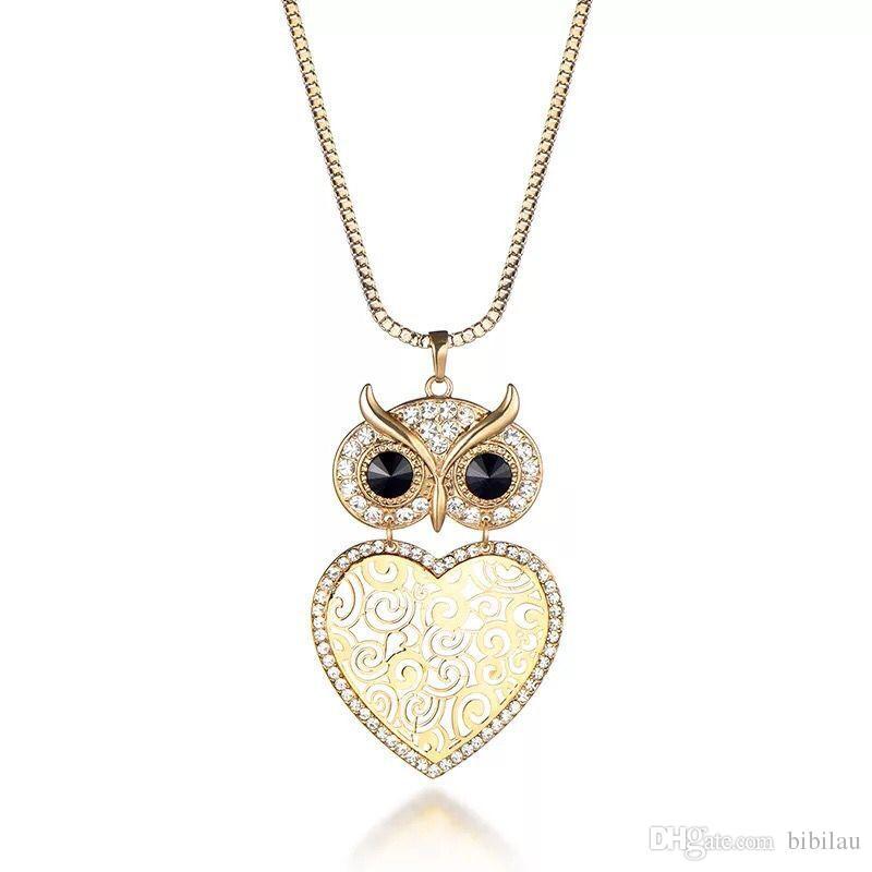 (186P) Corazón OWL Collar Colgante de Cristal Para Las Mujeres Joyería de Moda Chapado en Oro Nuevo Diseño 72 cm Cadenas de Cajas