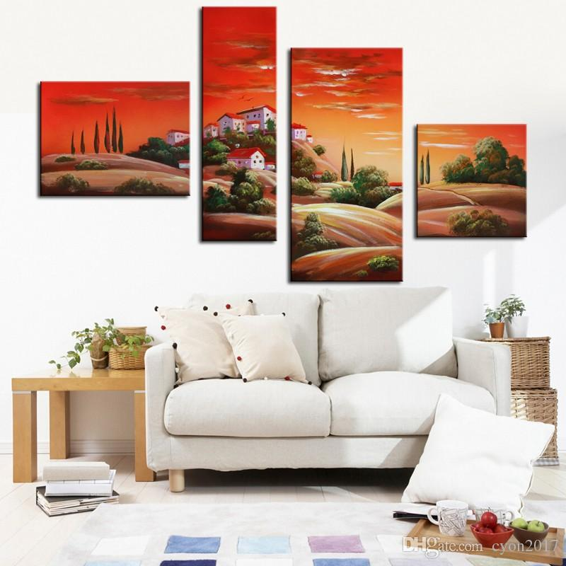 Village Scenery Canvas Painting 4 Panels Canvas Wall Art 100% Handmade Oil Painting on Canvas for Room Decorative No Framed