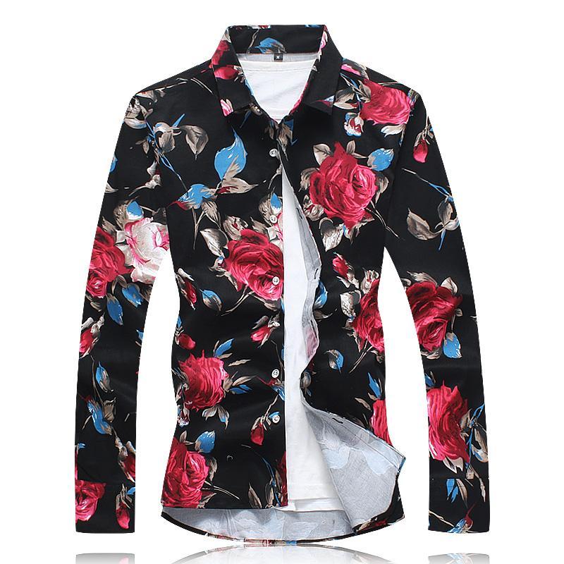 2017 Nouveautés Hommes Chemise Imprimé Floral À Manches Longues Coton Casual Male Chemises Plus La Taille 6XL Partie Fleur Hommes Chemises De Robe