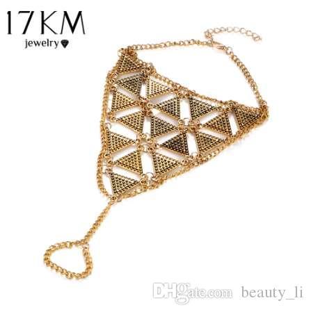 17KM Boho Style Triangle Anklet Bracelet New Punk Vintage Sandalo a piedi nudi Sandali a catena Piede Gioielli per donna Regalo del partito