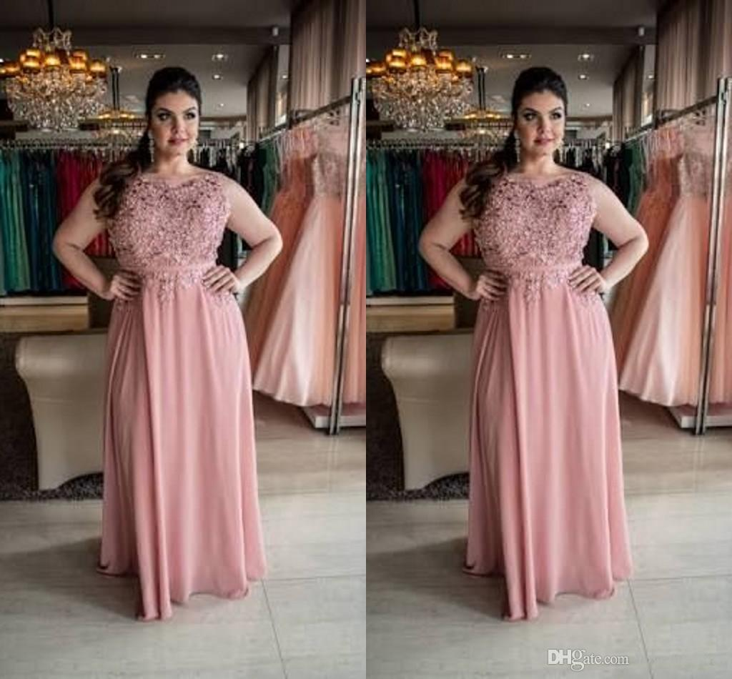 Plus Size Prom Dresses Formal Dress Pink Lace Beaded Bateau Cap Sleeve  Backless Chiffon Long Evening Dress Party Dress Custom Made Plus Size  Evening ...