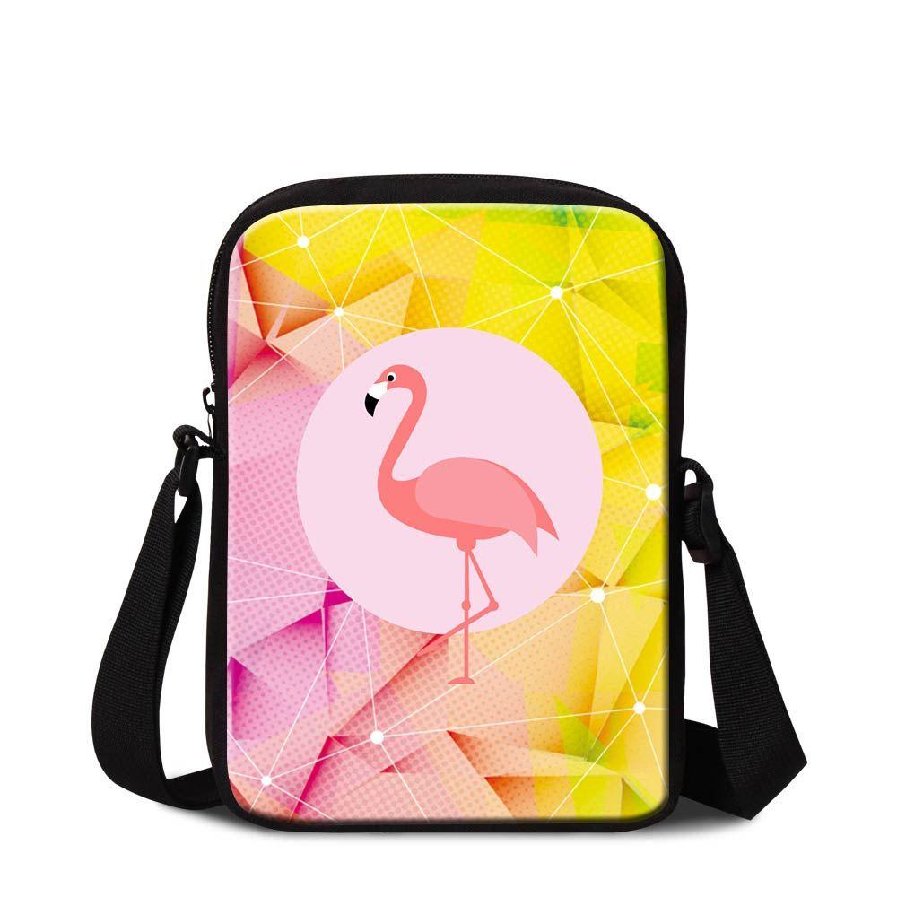 Women Mini Messenger Bag Diamond Pattern Flamingo Printed Crossbody Shoulder Bags For Students Schoolbags Children Cool Animal Flap Handbags