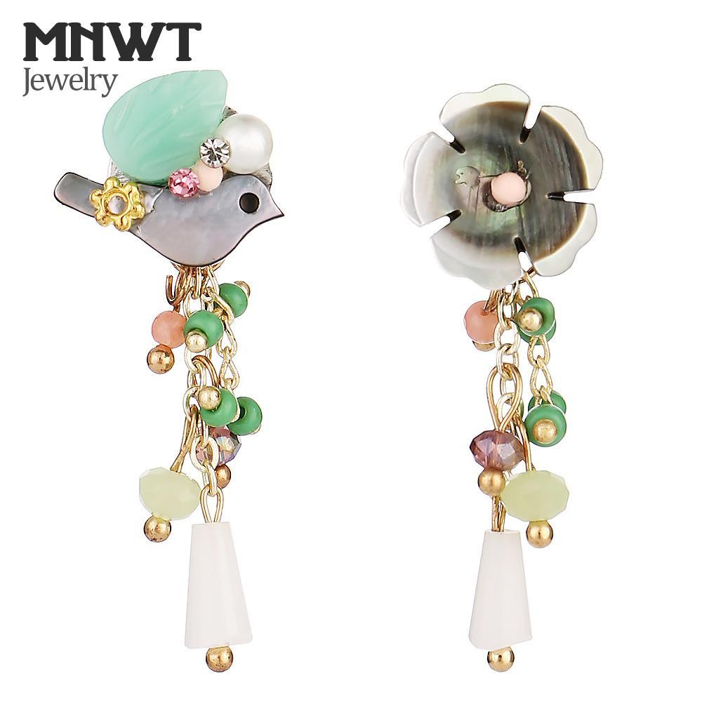 MNWT moda asimmetrica gioielli irregolari orecchino delle donne piuttosto naturale shell di cristallo fiori / uccello naturale pietra nappa orecchini