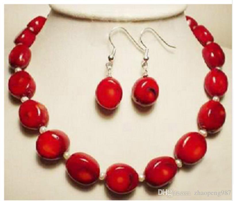 orecchini in oro bianco con collana di corallo rosso naturale bianco 18 carati