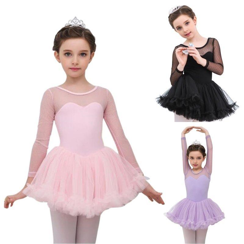 Celmia Kid Mädchen Ballett Kleid Long Sleeves Dancewear Mesh Ballett Gymnastik Trikot Tutu Kleider für Mädchen Dancewear Kleidung