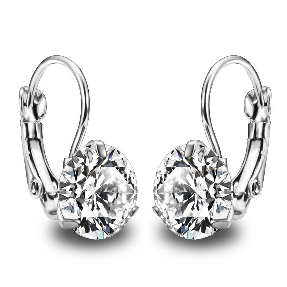 Super Flash Big Crystal Zircon Stone silver plated Earing Girls Fashion Jewelry Cubic Zirconia Earrings For Women