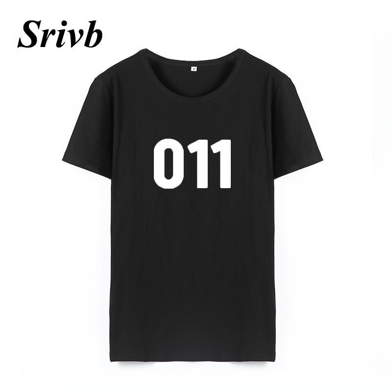 Kadın Tee Srivb 011 O-Boyun Kadın Üstleri Kısa Kollu Siyah Beyaz pamuk Yaz Tshirt Kadın Harajuku Komik Baskı Kadın T Gömlek Tops Femme