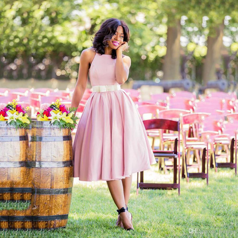 Compre Vestidos De Dama De Honor De Una Línea De Color Rosa Vestidos ...