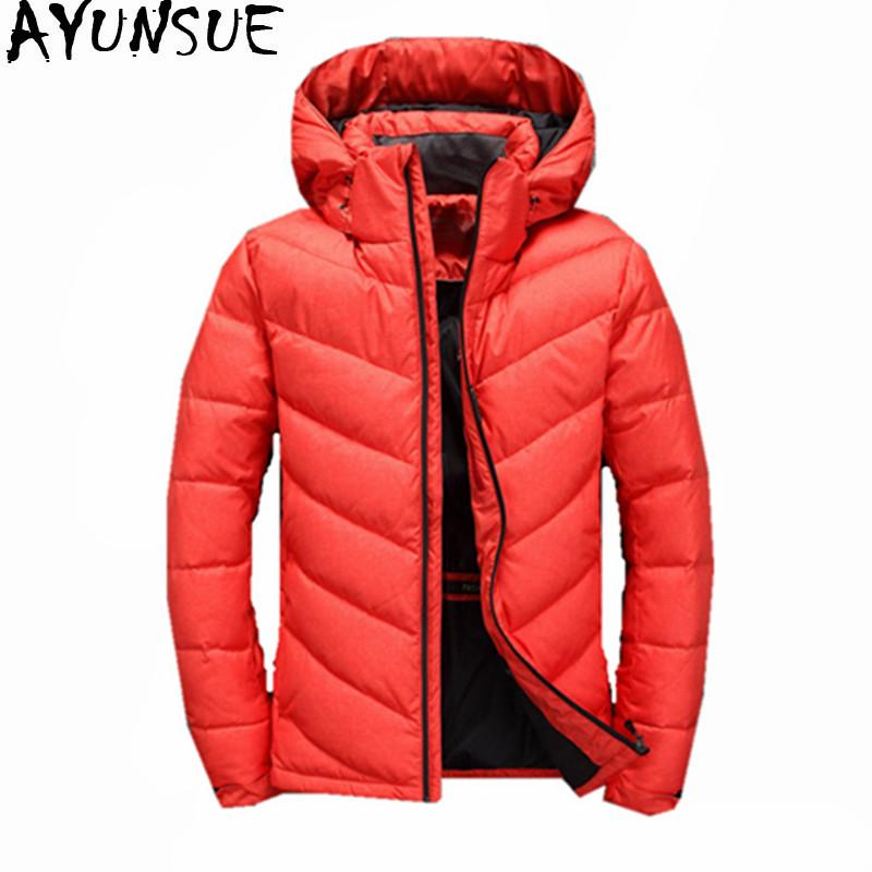 AYUNSUE Fashion 2017 Men's Down Jacket Warm White Duck Winter Coat Hooded Men Parka Casual Mens Jackets Jaqueta Masculina WXF374